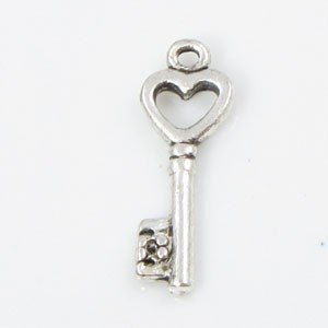 Sleutel 19 mm Ant. Zilver hartje