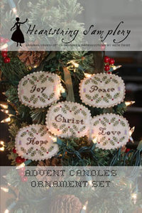 Advent Candles Ornament Set- Heartstring Samplery