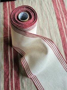 20 cm Antiek Wit met rode ingeweven streepjes